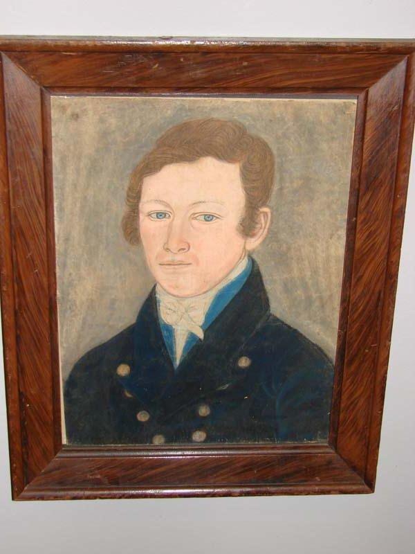 553: PASTEL PORTRAIT. Pastel on laid paper of a young m