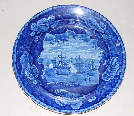 554: HISTORICAL BLUE STAFFORDSHIRE PLATE. Commodor MacD