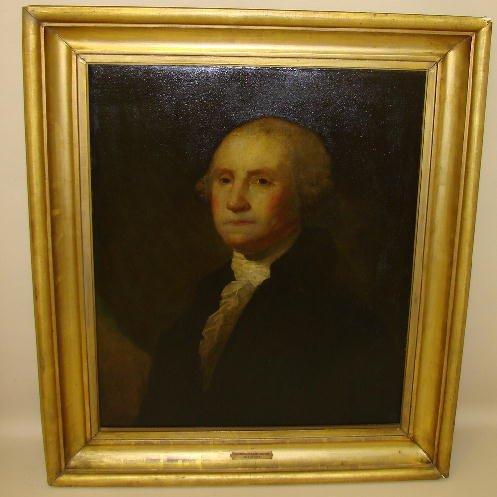 555: WASHINGTON PORTRAIT ATTRIBUTED TO JANE STUART. Oil