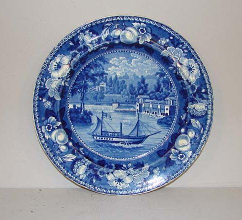 558: HISTORICAL BLUE STAFFORDSHIRE PLATE. The Dam