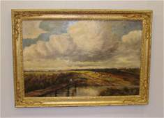 598: OIL ON CANVAS PAINTING. English pastoral scene of