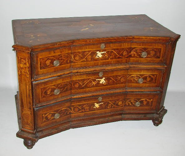 755: MARQUETRY CHEST OF DRAWERS. Nineteeth century Cont