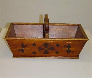 UNUSUAL WOODEN CARRIER WITH INLAY. Walnut with birch