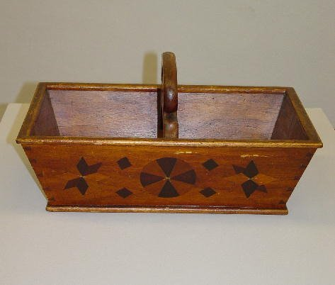 2: UNUSUAL WOODEN CARRIER WITH INLAY. Walnut with birch