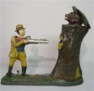 "CAST IRON MECHANICAL BANK. ""Teddy, and the Bear"" N#"