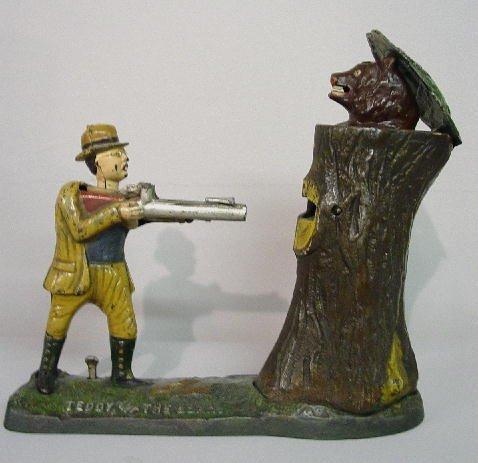 "6: CAST IRON MECHANICAL BANK. ""Teddy, and the Bear"" N#"