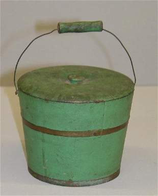 MINIATURE STAVE CONSTRUCTED BUCKET IN OLD GREEN PAI