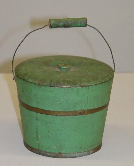 16: MINIATURE STAVE CONSTRUCTED BUCKET IN OLD GREEN PAI