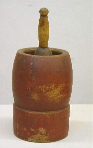 MORTAR AND PESTLE IN OLD RED PAINT. Birch with good