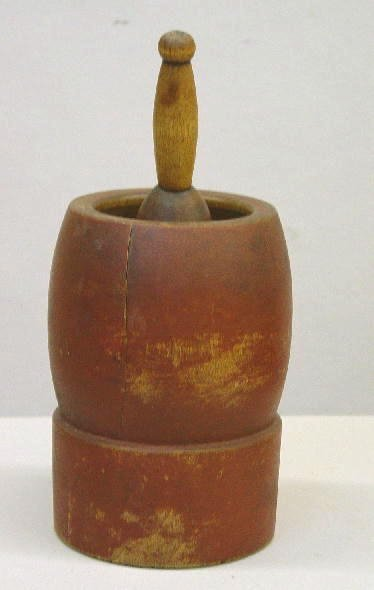 17: MORTAR AND PESTLE IN OLD RED PAINT. Birch with good