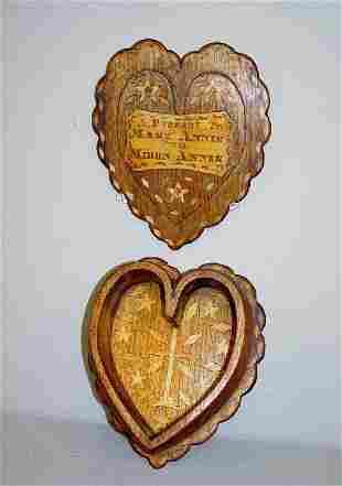 UNUSUAL INLAID VALENTINE BOX. Heart shaped varnishe