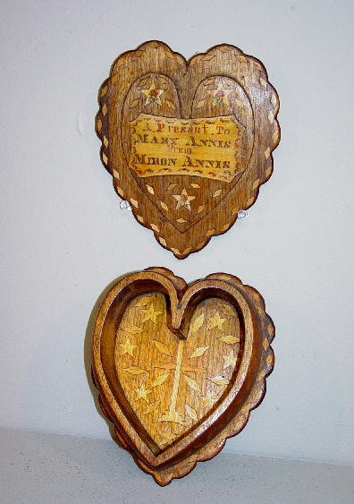 18: UNUSUAL INLAID VALENTINE BOX. Heart shaped varnishe