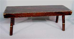 DECORATED FOOTSTOOL. Attributed to Maine. Pine with