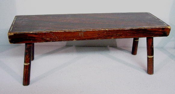 19: DECORATED FOOTSTOOL. Attributed to Maine. Pine with