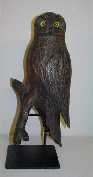 CARVED WOODEN OWL. Folky carved barn owl with old v