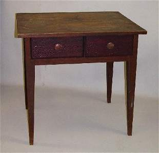 COUNTRY HEPPLEWHITE TWO-DRAWER WORK TABLE. Walnut w