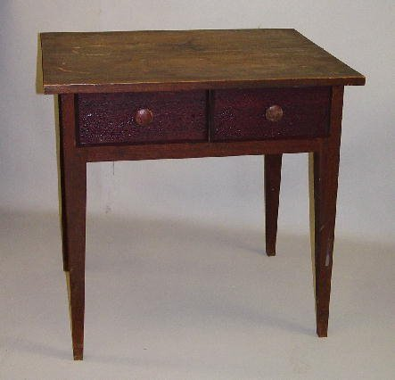 22: COUNTRY HEPPLEWHITE TWO-DRAWER WORK TABLE. Walnut w