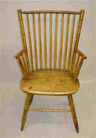 BAMBOO WINDSOR ARMCHAIR. Maple and hickory with an