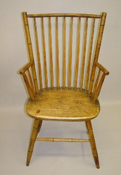 23: BAMBOO WINDSOR ARMCHAIR. Maple and hickory with an