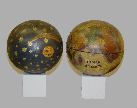 24: PAIR OF EARLY HAND PAINTED GLOBES OR FINIALS. Both
