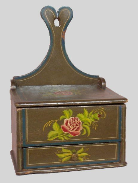 51: DECORATED HANGING BOX. Attributed to the Pennsylvan