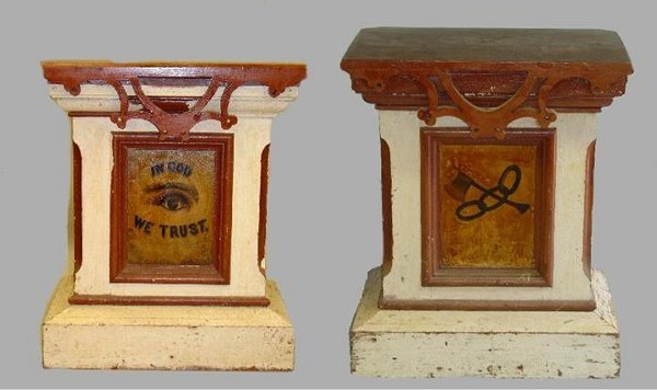 203: TWO INLAID AND DECORATED ODD FELLOWS PODIUMS. Pine