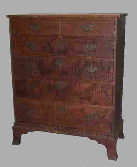 COUNTRY CHIPPENDALE CHEST IN CURLY MAPLE. Old refi