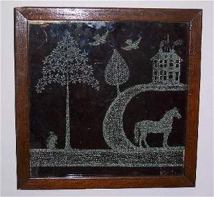 ETCHED GLASS PICTURE. Thick pane of glass with a f