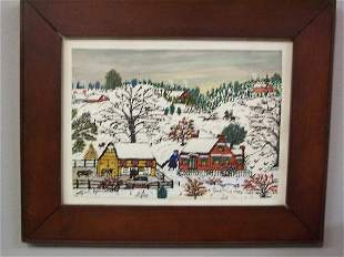 "WATERCOLOR BY ""HATTIE K. BRUNNER"". Rural winter sc"