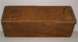 CARVED CANDLE BOX. Dovetailed walnut with a pine b