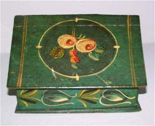 DECORATED BOX. Pine with original blue ground and