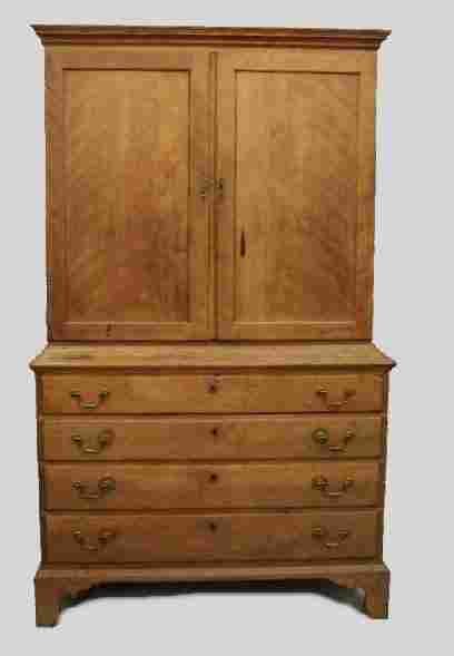UNUSUAL COUNTRY CHIPPENDALE TWO-PIECE CHEST OR LIN