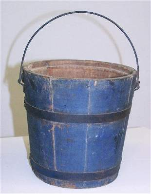 PAINTED BUCKET. Stave constructed wooden bucket wi