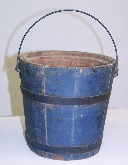 344: PAINTED BUCKET. Stave constructed wooden bucket wi