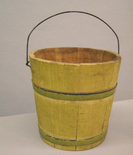 345: PAINTED BUCKET. Stave constructed wooden bucket wi