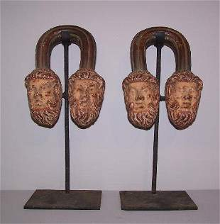 PAIR OF CAST IRON URN HANDLES. Solid figural handl