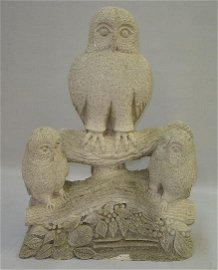 436: STONE SCULPTURE. Limestone with three owls perched