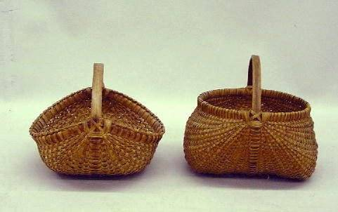TWO BASKETS. Woven splint with bentwood handles. B