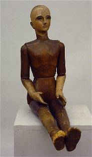 LARGE ARTICULATED WOOD DOLL OR ARTIST'S MODEL. Ful