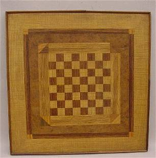 LARGE INLAID CHECKERBOARD. Tightly curled ash and