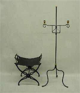 TWO PIECES OF IRON. Wrought iron candlestand with