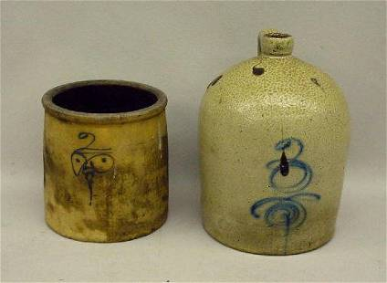 TWO PIECES OF STONEWARE. Both have freehand cobalt
