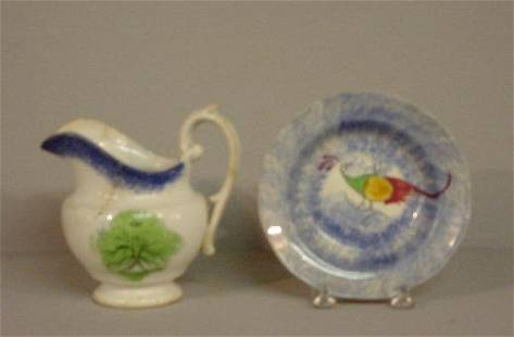 TWO PIECES OF SPATTER. Creamer with blue dots and