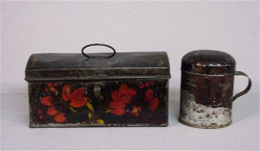 TWO PIECES OF TOLE. Dome top document box with ori