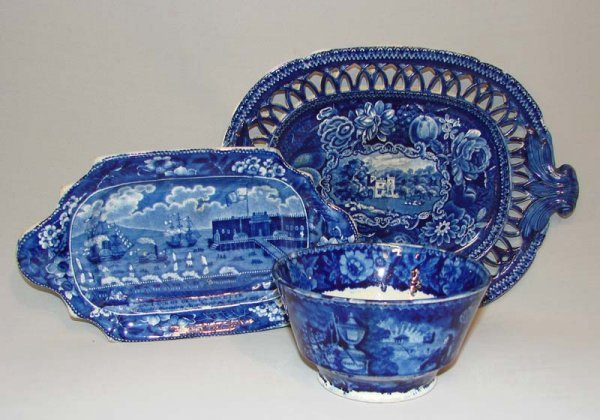 5: THREE PIECES OF HISTORICAL BLUE STAFFORDSHIRE.