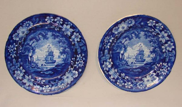 7: PAIR OF HISTORICAL BLUE STAFFORDSHIRE PLATES.