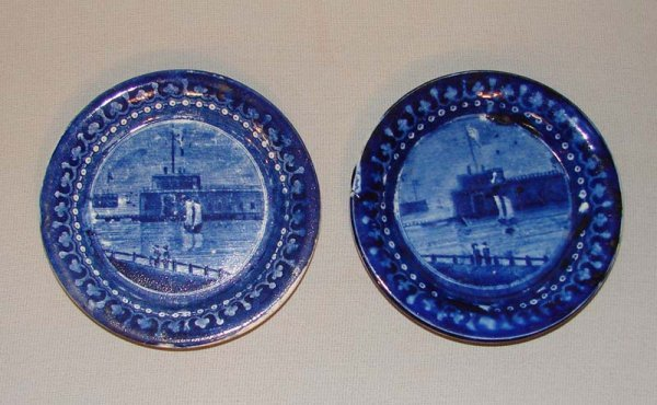 9: TWO HISTORICAL BLUE STAFFORDSHIRE CUP PLATES.