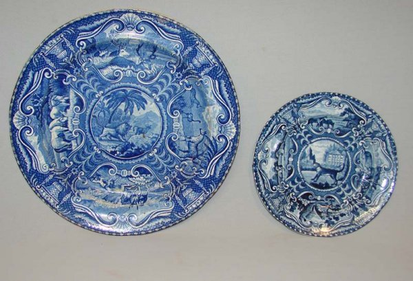 10: TWO HISTORICAL BLUE STAFFORDSHIRE PLATES.