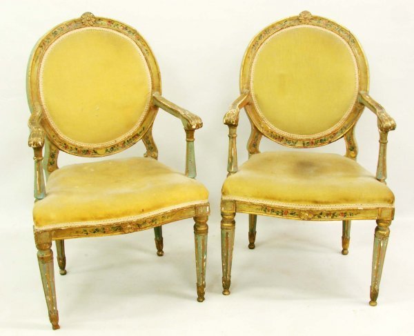 157: PAIR OF FRENCH STYLE ARMCHAIRS.