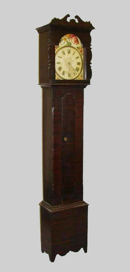 450: DECORATED TALL CASE CLOCK.